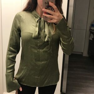 REISS Tie-Neck Blouse